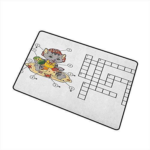 Wortsuche Puzzle Universal Fußmatte Kreuzworträtsel Spiel für Kinder Nette Katze am Strand und Gebäude Sandburgen Fußmatte Bodendekoration Multicolor Badematte