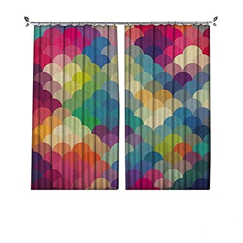 Cortinas abstractas de 90% opacas, coloridas balanzas de estilo retro inspiradas en círculos superpuestos de puntos, cortinas plisadas para dormitorio, sala de estar, 200 x 200 cm, multicolor