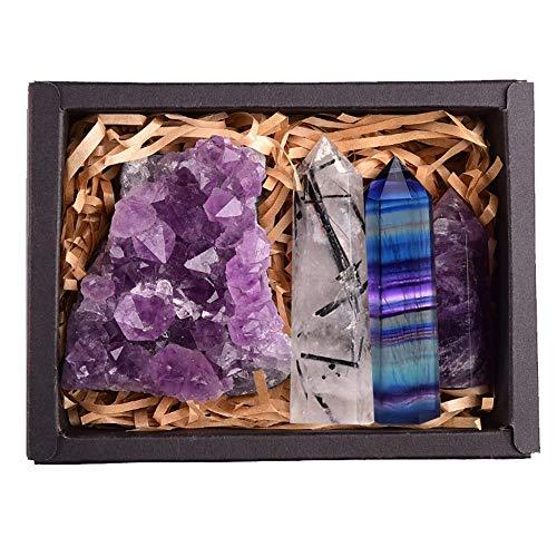 ADELALILI Natürlicher Kristallstein Set Amethyst Quarz-Regenbogen-Fluorit-Wand-Punkt Stein Dekoration Craft