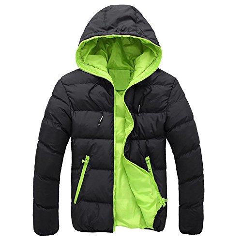 VEMOW Herren Slim Lässige warme Jacke Herbst Winter mit Kapuze dicken Mantel Parka Casual Sport Wandern Mantel Hoodie(Grün, 54 DE / 3XL CN)