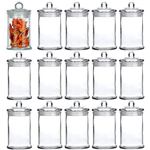 Maredash Glass Apothecary Jars, 5 oz Bathroom Storage Organizer with lids - Mini Glass canisters Jar Cotton Ball Holder Set of 15