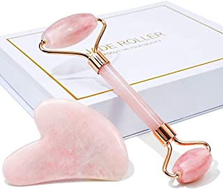 Zehroova Jade Roller And Gua Sha For Face - 100% Natural Rose Quartz - Anti Aging Wrinkle Reduction Face Roller For Skin E...