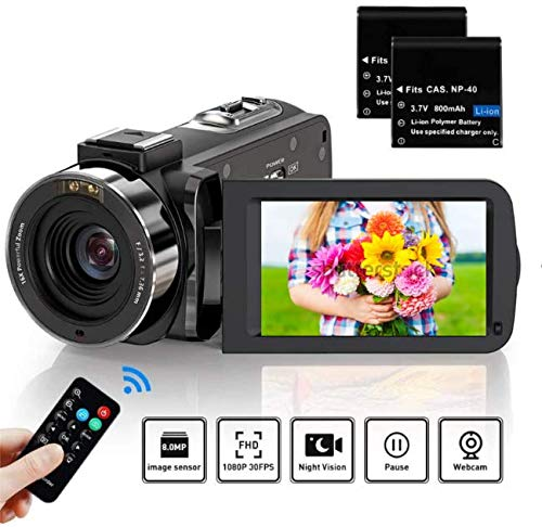 ZORNIK Camcorder, IR Nachtsicht Videokamera HD 1080P 36MP 16X Digital Zoom 3.0 Zoll LCD 270 Grad drehbarer Bildschirm Vlogging Kamera (3051LRM-02)