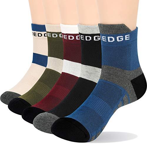 YUEDGE algodón calcetines tobilleros Hombre Mujer Calcetines Cortos Deporte Running Verano 5 Pares