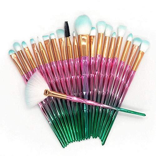 LZJE 20 pcs Diamant Maquillage Brosse Ensemble Pinceau pour Les Yeux Beauté Outils Fan Poudre Fard À Paupières Contour Beauté Cosmétique Coloré, Noir