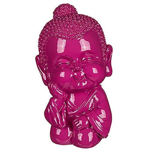 Marabella Spardose Baby Buddha 8x8x13cm Sparbox Sparbüchse in blau, türkis oder pink, Farbe:pink