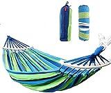 Sisliya Cotton Fabric Canvas Travel 450 Lbs Ultralight Camping Hammock Portable Beach Swing Bed with Hardwood Spreader Bar Tree Hanging - 80 cm width