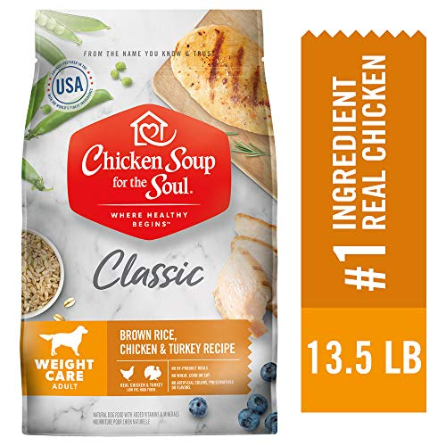 Chicken Soup for The Soul Weight Care Dog Food, Brown Rice, Chicken and Turkey Recipe, 13.5 lb. Bag | Soy Free, Corn Free, Wheat Free | Dry Dog Food Made with Real Ingredients