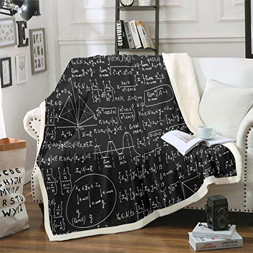 Feelyou Math Theme Fleece Blanket Mathematical Formula Throw Blanket Geometry Stripe Numbers Sherpa Blanket for Couch Bed Sofa Black White...