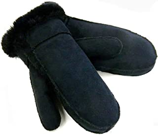 Surell Black Lined Faux Shearling Mittens - Warm Sheepskin Gloves - Cold Weather Clothing