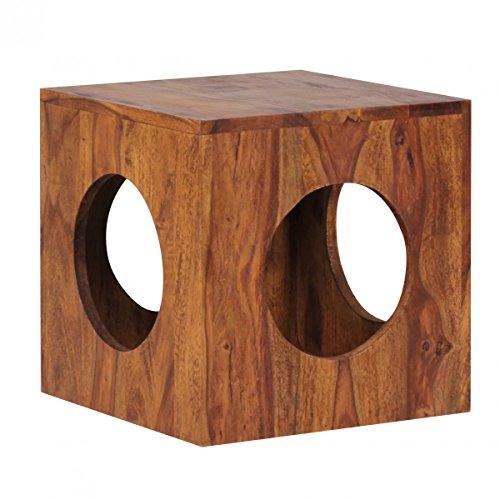 Mesa Auxiliar UMBAI de Madera Maciza Sheesham Cube Mesa de Estar de diseño Estilo Country Mesa de Centro Cuadrada HxWxD: 35x35x35cm