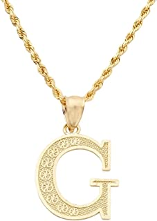 LoveBling 10K Yellow Gold Diamond Cut A to Z Alphabet Initial Letter Charm Pendant (Large Size)