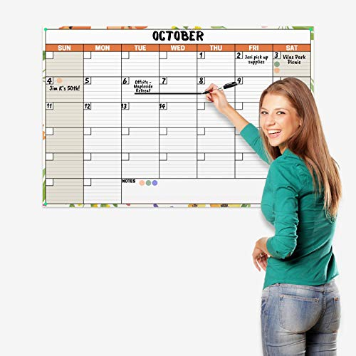 Dunwell 24x36 Dry Erase Calendar - (Floral) Undated Large Dry Erase Calendar for Wall, Reversible Reusable Monthly and Weekly Dry Erase Calendar, Wipe Off Calendar Poster Shipped Rolled Not Folded
