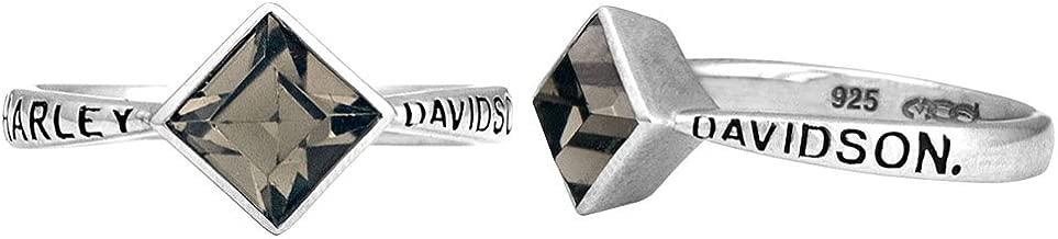 Harley-Davidson Women's Ring, Black Ice Diamond Shape Crystal Ring HDR0361