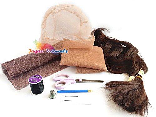 Ensemble de base pour la ventilation : tout ce dont vous avez besoin pour la pratique : extensions de cheveux, dentelle, aiguille, perruque, fils, dé à coudre