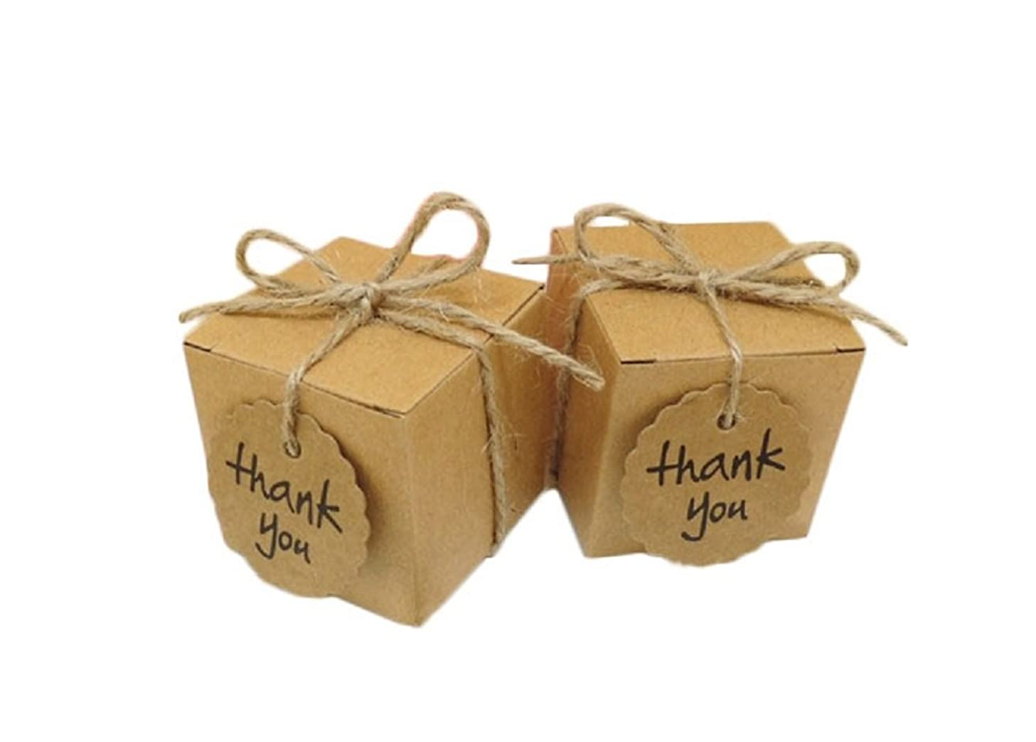 Yalulu 50pcs Kraft Paper Pillow/Square Candy Box Rustic Wedding Favors Candy Holder Bags Wedding Party Gift Boxes with Thank You Tags (Square)