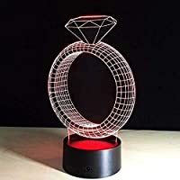 3D溶岩ランパラダイヤモンドリングクリエイティブ7色変更3DLEDナイトライトRGB結婚式の装飾ギフト寝室テーブルランプアクリルランプ