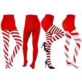4 Pairs Christmas Striped Tights Full Length Tights Thigh High Stocking for Christmas Halloween Costume Accessory (Color Set 10)