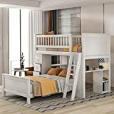 SOFTSEA Twin Over Twin Bunk Bed with 4 Drawers and Shelves, Wood L-Shaped Bunk Beds Frame with Storages and Ladder for Kids Teens Adults, No Box Spring Needed (White)