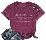 Inspirational Quotes T-Shirt Women Letter Print Christian Tee Shirt Short Sleeve Teacher Shirts Purple Red