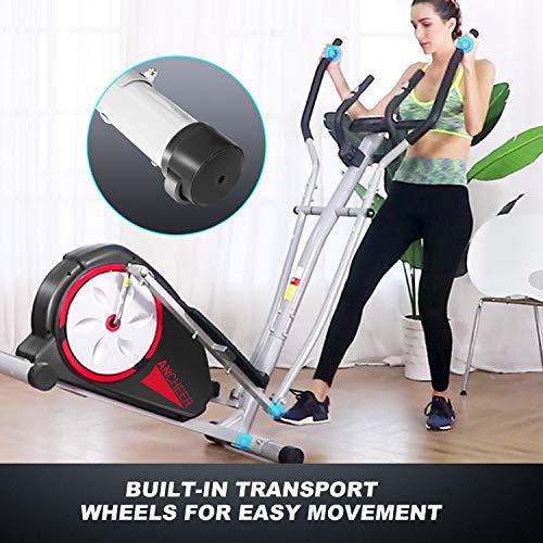ANCHEER Elliptische Maschine, Ellipsentrainer für den Heimgebrauch mit Pulsfrequenz-Griffen und LCD-Monitor, magnetisch, glatt, leise angetrieben, maximale Kapazität Gewicht 150kg - 5