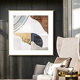 DKee murales de pared moderno de oro hoja creativa mosaico pintura sofá fondo pared restaurante dormitorio cuadrado mural abstracto pintura decorativa sala pintura 70x70cm