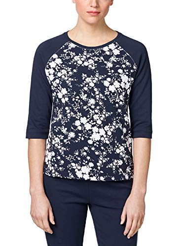 Walbusch Damen Sweatshirt Blumenpracht Gemustert Marine/Weiß 50