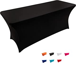 FELIZEST Spandex Table Cover 6 ft. Fitted Polyester Tablecloth Stretch Spandex Table Cover (6ft, Black)