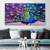 Dreamy Beautiufl Pavo Real Fénix Alas de plumas doradas Cola Pájaro Animal Lienzo Pintura Arte de la pared Póster Porche Entrada Sala de estar Oficina Decoración para el hogar Mural