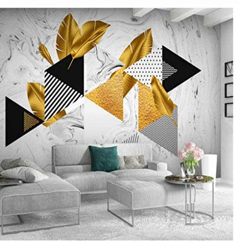 Golden Leaves Wallpaper Herbstserie Marmor Hintergrund 3D geometrisches Muster Foto Badezimmer Tapete