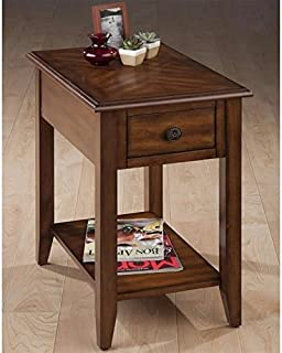 Jofran Chairside Table in Medium Brown Finish