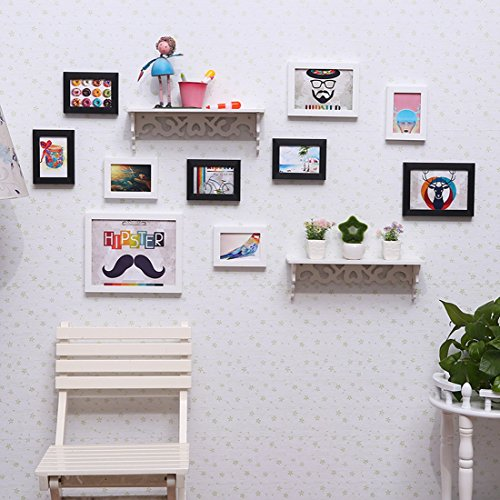 Mordern eenvoudige foto muur (10 foto frame + 2 plank) woonkamer combinatie foto muur, creatieve restaurant achtergrond muur decoratie, zonder pop ornamenten