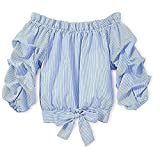 Mericiny 3-10Y Little Girls Kids Baby Off Shoulder Tees Striped Tie Knot Front Camis Tanks (Blue, 150/10-11Y)