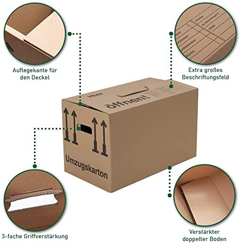 Umzugskartons 20 Stück Profi STABIL 2-wellig von BB-Verpackungen - 5