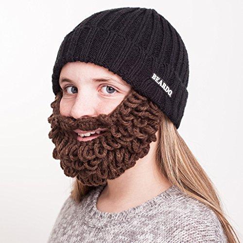 Beardo® Kinder Bartmütze (verschiedene Farbkombinationen) - mit abnehm- und verstellbarem Bart (Burly Mütze schwarz / Bart braun)