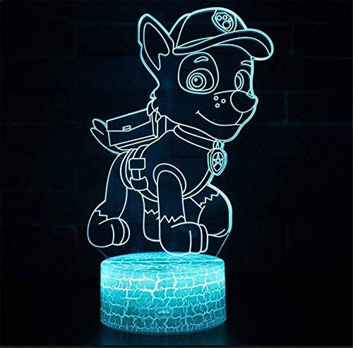 Veilleuse LED 3D à illusion de la Pat' Patrouille Chase - Lampe de chevet pour enfants - 16 couleurs changeantes - Bouton tactile - Câble USB - Décoration de bureau