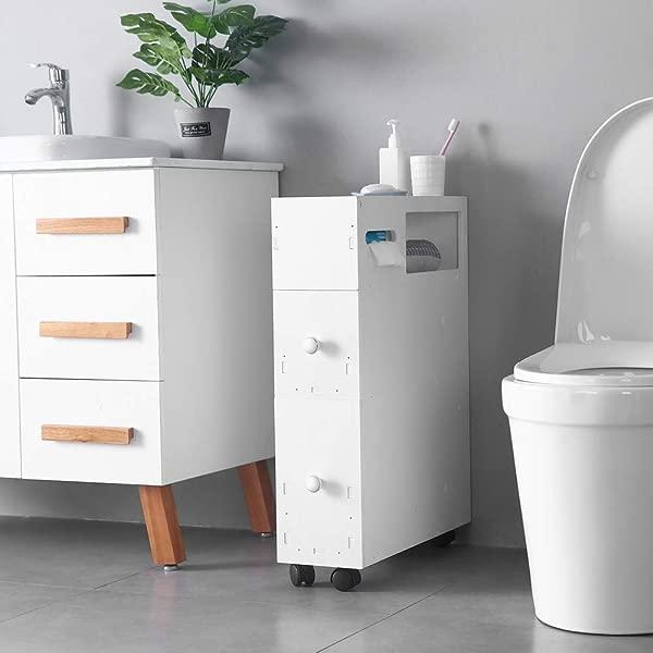 Goujxcy Bathroom Storage Cabinet PVC Movable Bath Toilet Cabinets Drawers Thin Toilet Vanity Cabinet Narrow Bath Sink Organizer Towel Storage Shelf For Paper Holder White