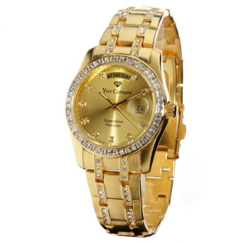 Yves Camani Herrenuhr Quarz Edelstahlgehäuse Edelstahlarmband Mineralglas AURON gold/gold YC600G-G