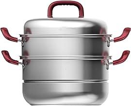 3-tier Stoomboot Pot, Roestvrijstalen Stoffen Met Anti-brandende Rode Handvat, Steamer Kookgerei Voor Gestoomde Tamales, G...