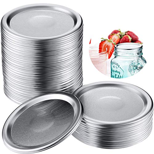 Canning Lids, Regular Mouth Mason Jar Lids, 50 Pcs 2.75in silver Split-Type Lids
