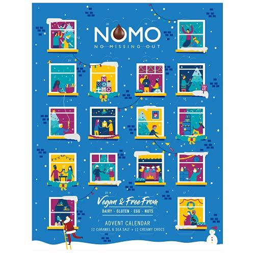 NOMO Veganer Adventskalender mit milchfreier Schokolade Gluten- und Nussfrei, 96g