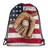 Mochila de béisbol vintage con bandera americana con cordón de EE.UU. Mochila de gimnasio ligero mochila deportiva al aire libre plegable Cincha hombro bolsa de baile unisex
