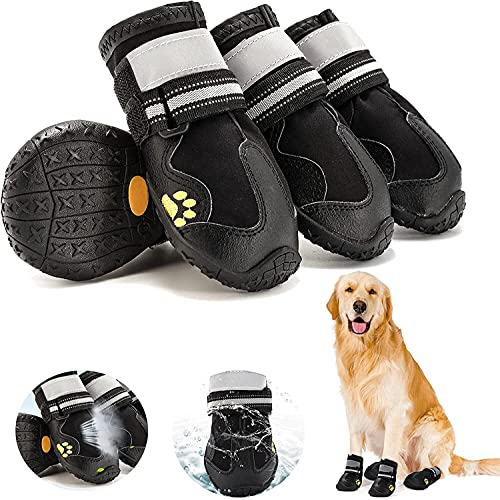 Fuzilin Dog Boots, Waterproof Dog Shoes, Summer Breathable Pet Dogs Booties, with Non-Slip Soles and Reflective Strap for Small Medium and Large-Sized Dogs, Black 4PCS (Size 7)