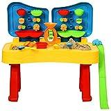 COSTWAY Tavolo Pieghevole per Gioco di Sabbia ed Acqua 2 in 1, Tavolo da Gioco per Bambini, Giocattoli da Spiaggia Set da 31 Pezzi, per Bambini Superiore a 3 Anni, Multicolore