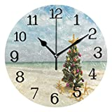 Wall Clock Christmas Tree Starfish Sandy Beach Silent Non Ticking Round Circle Digital Clocks Quartz Battery Operated Round Circle Easy to Read for Home/Office/School Clock Decor 10 inch