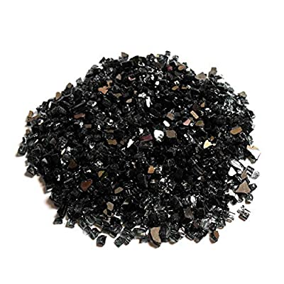 Black Fire Glass, 10 Pounds of ½ In. Premium Tempered Fire Pit Glass, Reflective Fireglass for Fire Pit, Fire Table, Fireplace, Natural Gas and Propane, Fire Glass Pellets Rocks, High Luster Glass