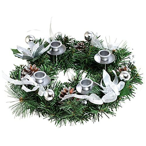 Kit decorativo de Navidad para festival, soporte de vela de flores falsas, decoración ornamental, exquisita corona de Navidad para Adviento