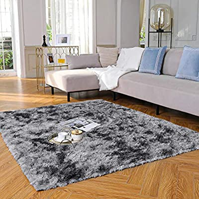 Yome Machine Washable Area Rug, Fluffy Soft Carpet with Durable Edges, Home Decor Floor Rug for Your Home's Living Room, Bedroom, Kid's Room, Office, Fuzzy Rug 4 x 5.3 Feet, Deep-Grey/Black.