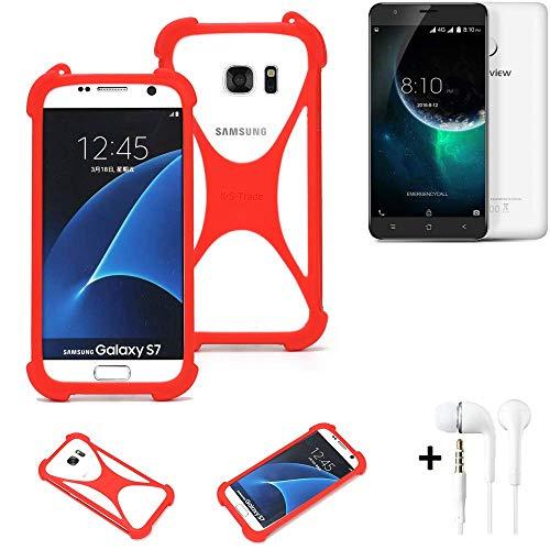 K-S-Trade® Handyhülle + Kopfhörer Für Blackview E7 Schutzhülle Bumper Silikon Schutz Hülle Cover Case Silikoncase Silikonbumper TPU Softcase Smartphone, Rot (1x),