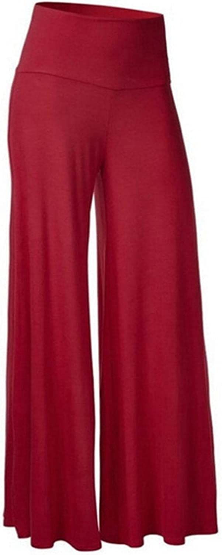 Ashowlaco High Waist Wide Leg Pants for Women Business Casual Loose Solid Color Comfy Soft Stretch Capris Trousers Plus Size